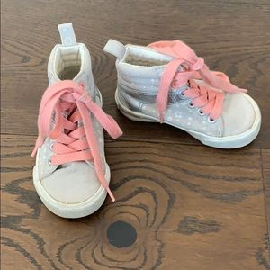 Silver and pink high tops